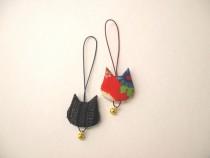 10 無料体験「アンティーク布で作るネコの根付け」作品例